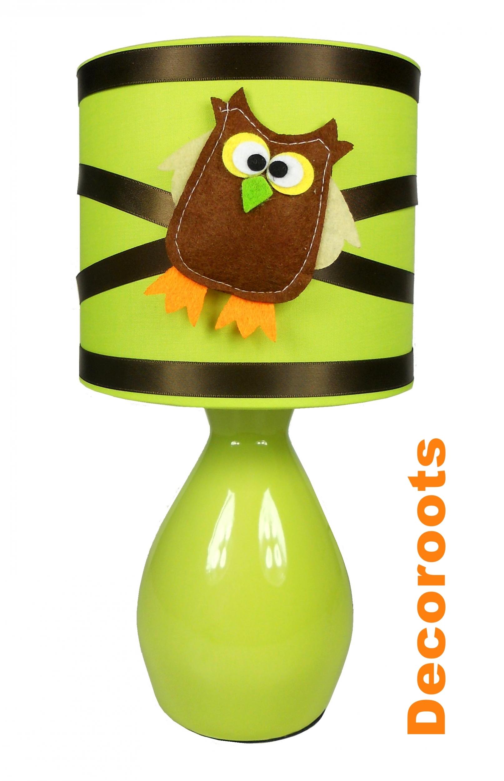 lampe de chevet hibou vert anis et marron chocolat. Black Bedroom Furniture Sets. Home Design Ideas
