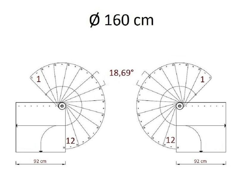 Escalier h lico dal ark klan en acier gris et h tre 160 cm - Escalier 80 cm largeur ...