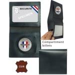 Porte carte billet cuir 2 volets avec médaille