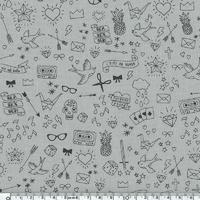Tatouée pour la journée poly/coton coloris sel (poivre blanc) 20 x 140 cm