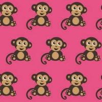 Jersey Fabric Addict Singes fond rose 20 x 160 cm
