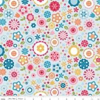 Tissu Fine and Dandy fleurs fond bleu 20 x 110 cm