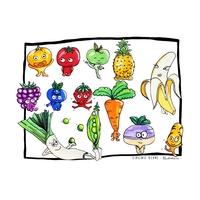 Coupon Mes petits légumes par Virginie Berne Illustrations env. 34 x 26 cm (sergé)