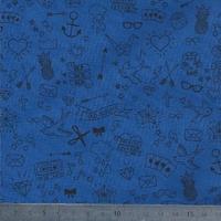 Tatouée pour la journée poly/coton blueberry 20 x 140 cm