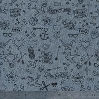 Tatouée pour la journée, chambray gris bleu, 20 x 140 cm