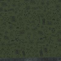 Coupon de gabardine stretch Tatouée pour la journée kaki, 1m50 x 135 cm