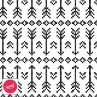 Jersey Flèches fond blanc 20 x 140 cm