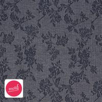 Jersey gris fleurs 20 x 140 cm